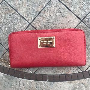 Red Leather Michael Kors Zipper Wallet